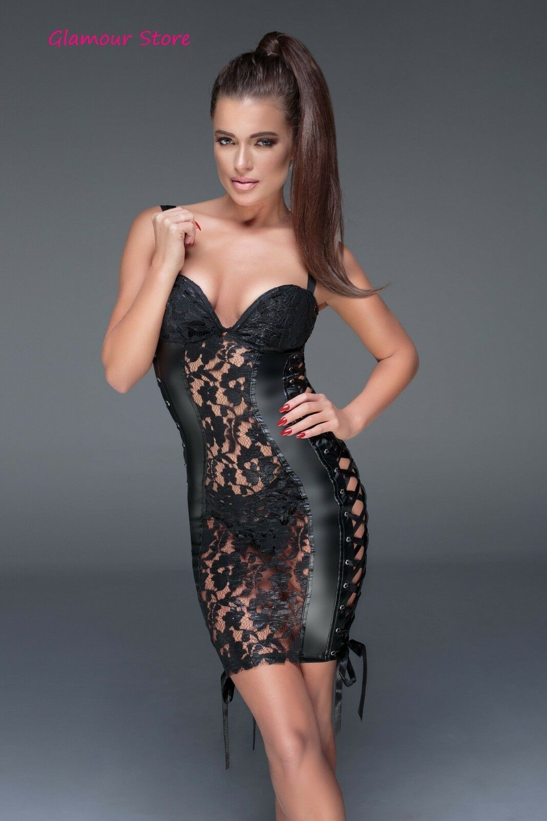 Sexy ABITO powerwetlook PIZZO black S, M, L, XL, 2L, 3XL (40-50) tubino GLAMOUR