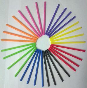 50 x 89mm  MIXED COLOUR PLASTIC LOLLIPOP STICKS CAKE POP KIT BAGS /& TWISTTIES