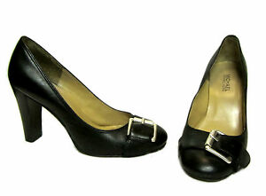 MICHAEL-KORS-Black-Leather-Silver-Buckle-Chic-Round-Toe-Pumps-Shoes-Heels-7-5