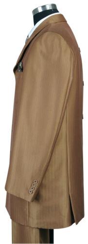 Men/'s 3 Piece Luxurious Suits Wool Feel Herring Bone Stripe Brown 38R~56L