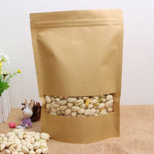 10XStand Up Kraft Paper Bags Ziplock Resealable Food Pouch With Clear Window