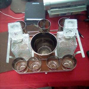 1960s Liquor Decanter Set With Tray 4 Small And 3 Large Glasses Ice Bucket