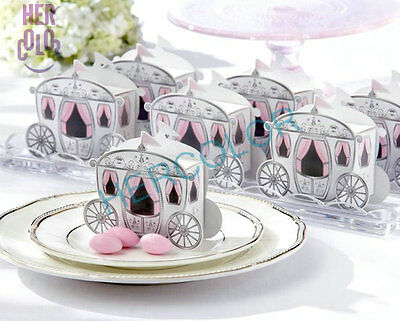 Enchanted Mini Carriage Princess Wedding Party Favor Candy Gift Boxes 100