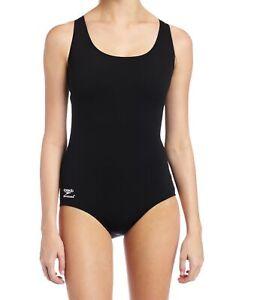 Speedo-Womens-Swimwear-Solid-Black-Size-12-Cutout-Aquatic-One-Piece-78-743