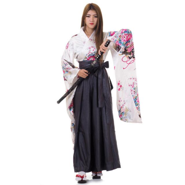 Japanese Woman Samurai Kimono Blouse Hakama Pants Robe