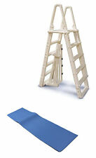 """Confer 7100B Evolution A Frame Above Ground Swimming Pool Ladder 48 to 54"""" w/Mat"""