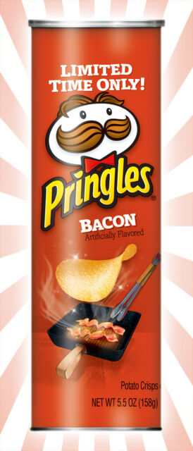 Pringles Bacon Flavored Potato Chips Crisps LIMITED EDITION 5.5 OZ