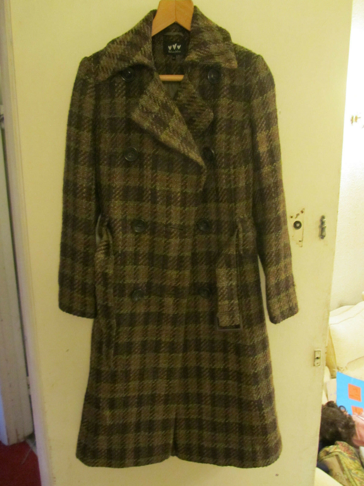 M&S Per Una Long Green & Brown & Metallic Bronze Knit Wool Coat in Size 10 R