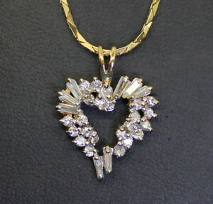 WOW-Estate-14K-Gold-1-Ct-Baguette-amp-RB-Diamond-Heart-Pendant-w-16-034-Necklace