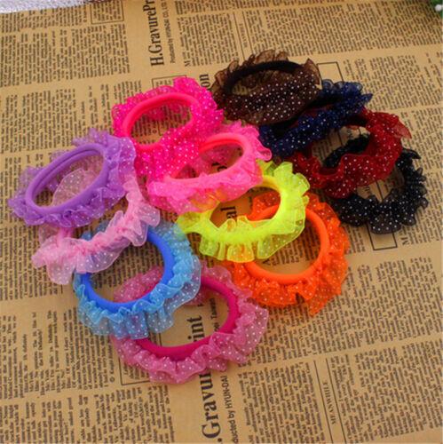 10X Beautiful Lace Girls Elastic Hair Band Hair Rope Scrunchie Ponytail HolderZN
