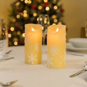 2 Real Wax Flameless LED Christmas Candles Battery Flickering ...