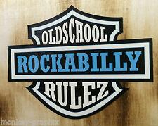 Rockabilly Rulez Oldschool Aufkleber türkis / US Car Sticker Hotrod Pinup V8