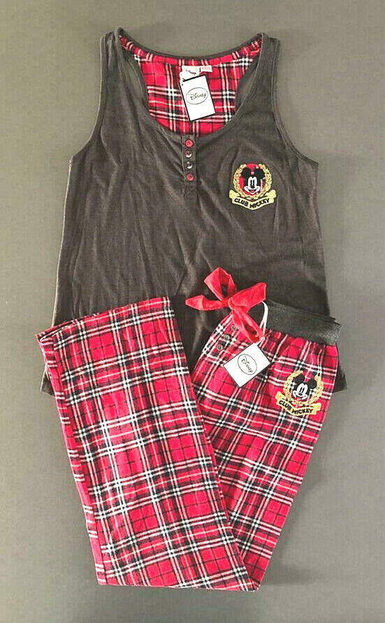 Disney Mickey Mouse Damen Pyjama Schlafanzug Hausanzug Set Tanktop Hose Lang S L