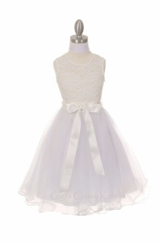 New Flower Girls Embroidered Lace Tulle Blush Dress Pageant Wedding Formal 5002