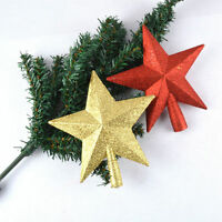 HOLIDAY GOLD/RED GLITTER SHINY STAR SHAPED CHRISTMAS TREE TOPPER TOP DECORATION