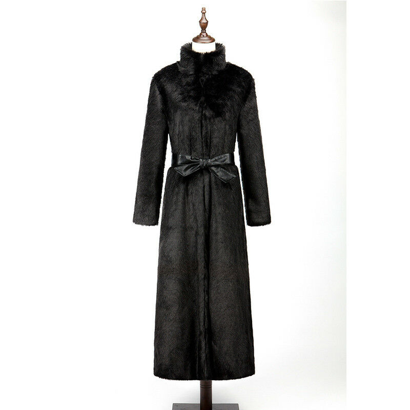 Luxury Womens Stand Collar Over Knee Long Fur Coat Coat Coat Warm Winter Trench Outwear cf6af1