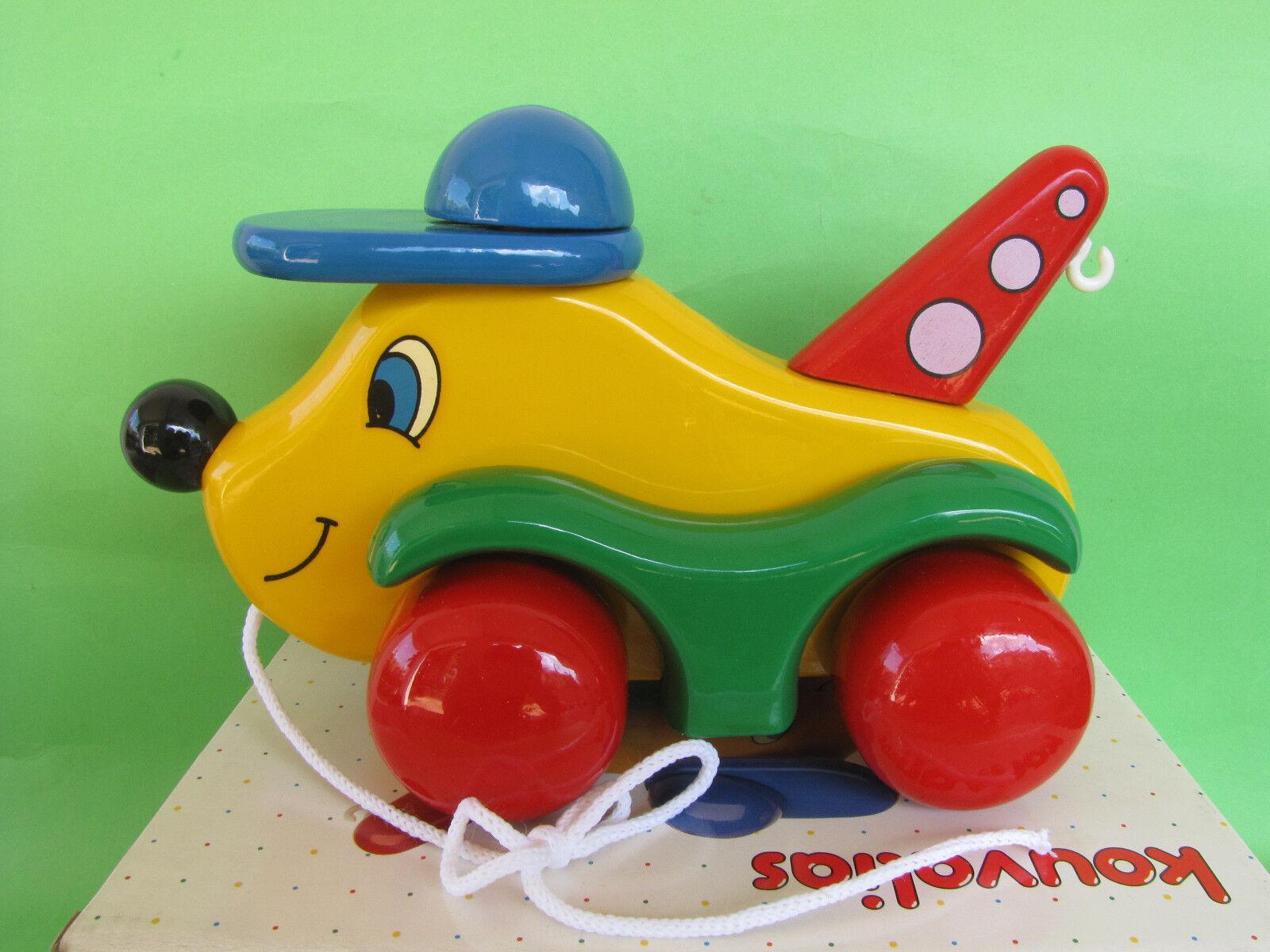 Vintage Sällsynt Kouvalias träen Drag Toy Pulling bil nr 990 NIB