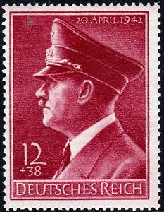 Deutsches-Reich-813-y-53-Geburtstag-waagerechte-Gummirifflung-postfrisch
