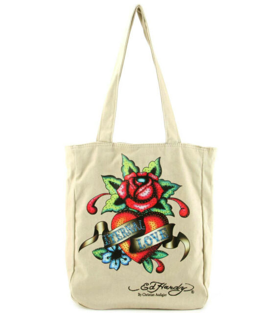 New Ed Hardy By Audigier Eternal Love Beige Ness Tote Ping Bag