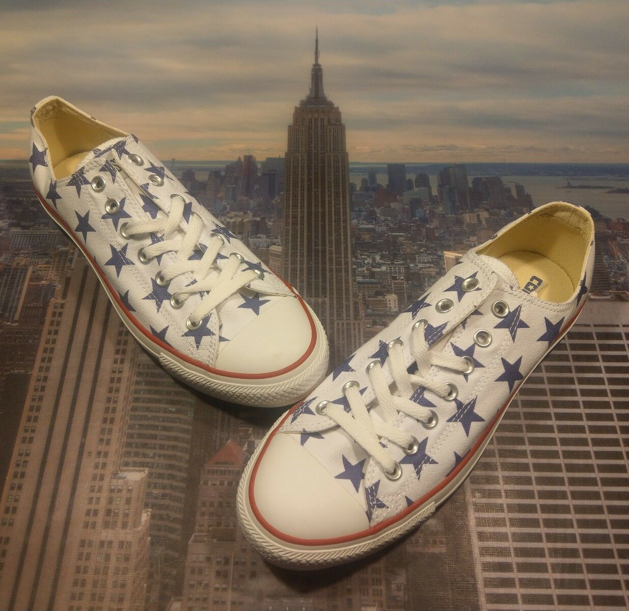 Converse Chuck Taylor All Star Ox Low Size Top White/Deep Blue Stars Size Low 10 136858F cf0a32