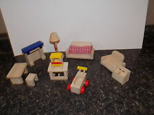 Ryan's Room  wood  DollHouse Furniture Lot Couch Table Chair living room +