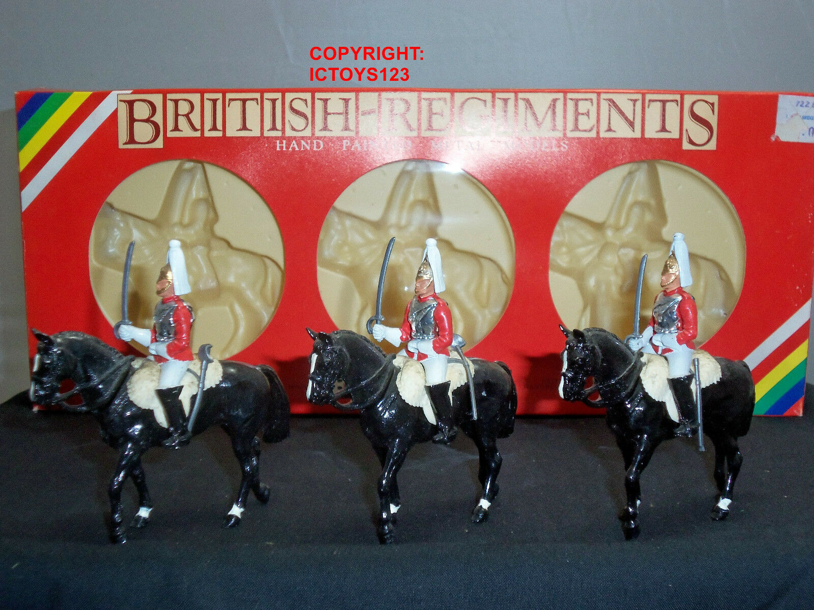 BRITAINS 7228 3 X CEREMONIAL LIFEGUARD TROOPERS MOUNTED METAL TOY SOLDIER SET