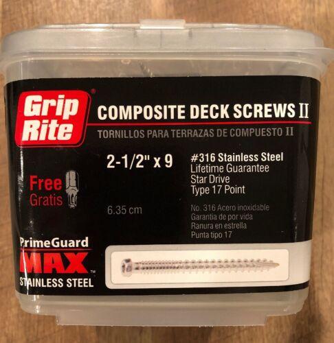 "Grip Rite Composite Deck Screws 2-1//2/""x 9 Star Drive Stainless Steel 5 LBS"