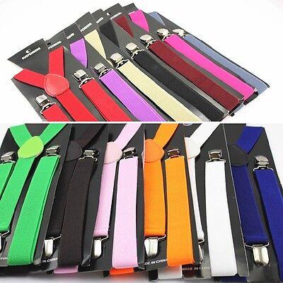 Mens Womens Elastic Clip-on Solid Color Y-Shape Adjustable Braces Suspenders