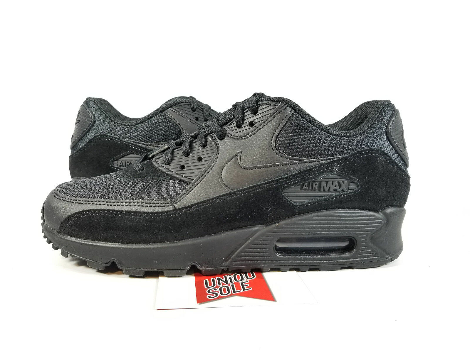 Nike Women's Air Max 90 TRIPLE BLACK SUEDE LEATHER 325213-043 sz 8 day 97 plus 1