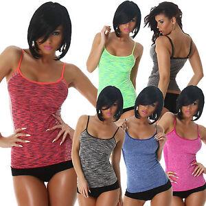 Damen-Funktionstop-Sport-Top-Traegertop-S-32-34-36-Freizeit-Workout-Joggen-Shirt