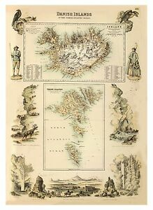 Old-Vintage-Decorative-Map-of-Iceland-and-Faroe-Island-Fullarton-1872