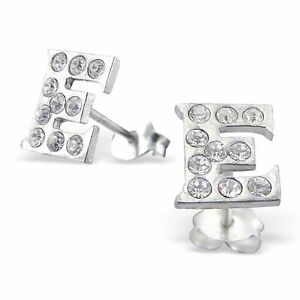 Image Is Loading S Women Sterling Silver Letter E Earrings Initial