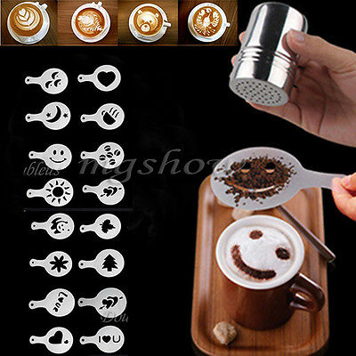 16Pcs DIY Cappuccino Coffee Barista Stencils Template Strew Pad Duster Spray