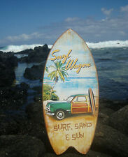 SURF SAND SUN Tropical Island Palm Tree Beach Woody Surfboard Sign Decor NEW