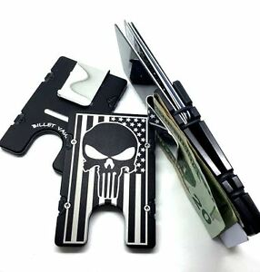 Punisher Skull Flag   BilletVault Wallet Aluminum RFID protected black anodized