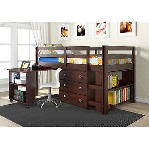 Details About Student Loft Beds With Desk Twin Bunk Bedroom Furniture For Kids S