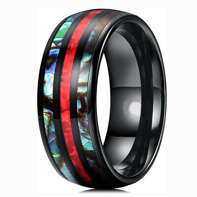 Bridal Stainless Steel Polished with Red Imitation Opal 8mm Mens Ring