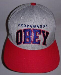 5fbf50f810db2 OBEY Hat Propaganda Gray w Red Brim Snapback Men s Cap Adjustable ...