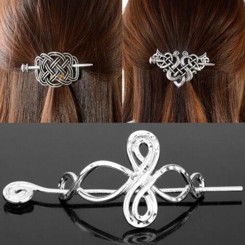 Vintage Norse Celtics Women Knots Stick Slide Viking Hairpins Hair Clips Access