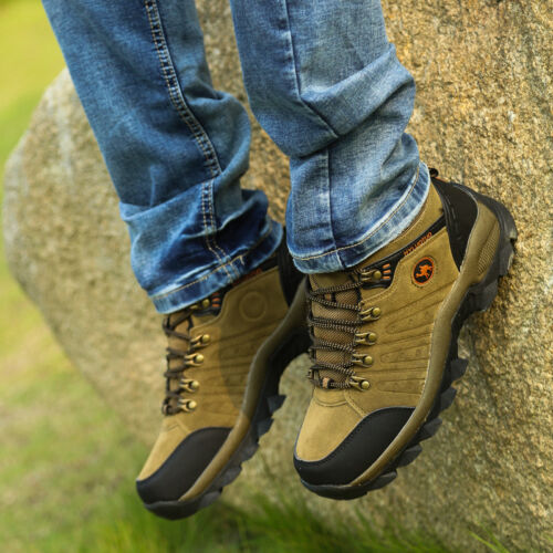 Men/'s lightweight leather waterproof mid cut top comfortable hiking boots shoes