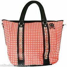 Abbey Dawn by Avril Lavigne Gingham Studded Picnic Large Shoulder Handbag - Red
