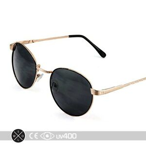 Classic Vintage Round Gold Metal Frame Sunglasses Fashion ...