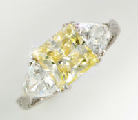 2.5 Ct Canary Princess Filligree Ring Top Cz Moissanite Simulant Ss Size 5.5