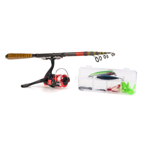 Telescopic Fishing Rods /& Reels Set W//Lures /&Portable Tackle Bag Travel UK L6S8