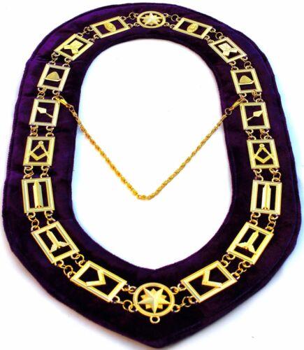 MASONIC REGALIA MASTER MASON LODGE,GOLDEN METAL CHAIN PURPLE COLLAR $59.99