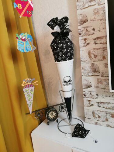 Schultüte Handmade Einschulungstüte Stoffschultüte mit Extras Pirat Totenkopf