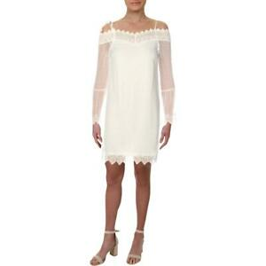 Aqua-Womens-White-Sheer-Bell-Sleeves-Party-Cocktail-Dress-S-BHFO-9839