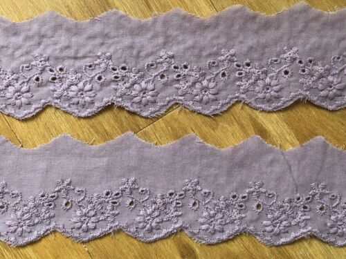 "Laverslace Mauve púrpura pálida en encaje inglés ajuste del cordón floral algodón 2/""//5cm"