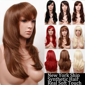 fast post women lady blunt bangs full wigs long straight light black