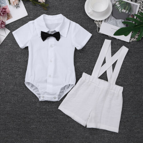 New Toddler Baby Boy Bowtie Romper T-shirt+Bib Pants Overalls Clothes Outfit Set
